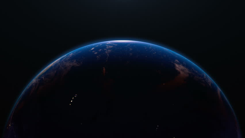 Earth view from space with night city lights. Oceania and Asia.  Stunning view of earth from space. Cities are visible on the night side.  Earth image maps © NASA | Shutterstock HD Video #2774549