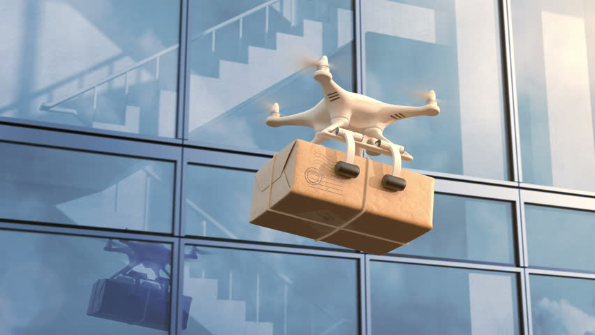 Quadcopter delivers a package against an office building, seamless looping 3d animation, 4K