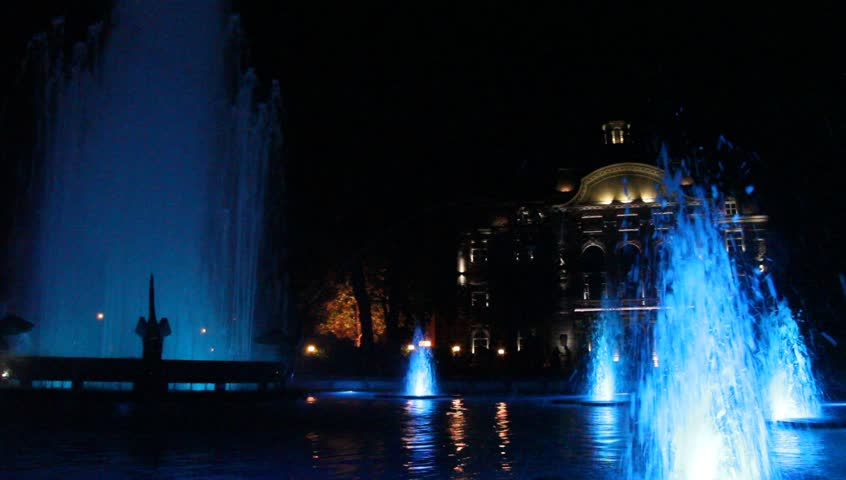 Fountain in Plovdiv at night, Bulgaria