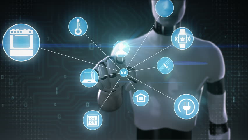 Robot, cyborg touching screen, IoT technology connect global world map. dots makes world map, internet of things | Shutterstock HD Video #27780667
