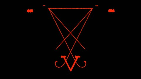 Pentagram Symbols Animation on black background