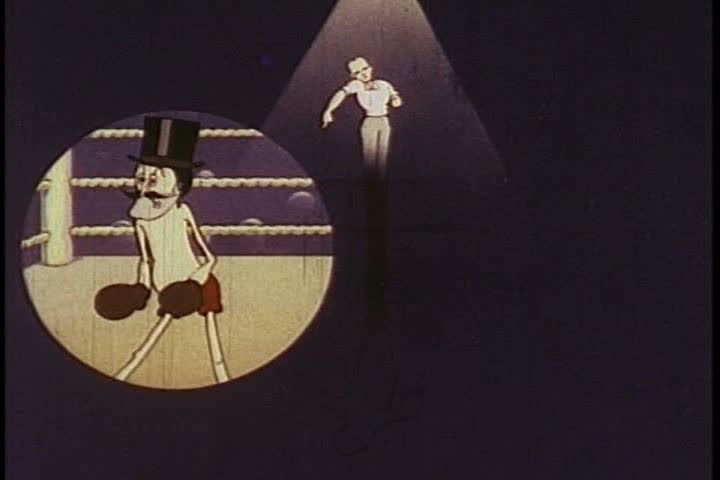 1930s: A villainous boxer beats up a heroic opponent, in a boxing ring, animated, in 1936.