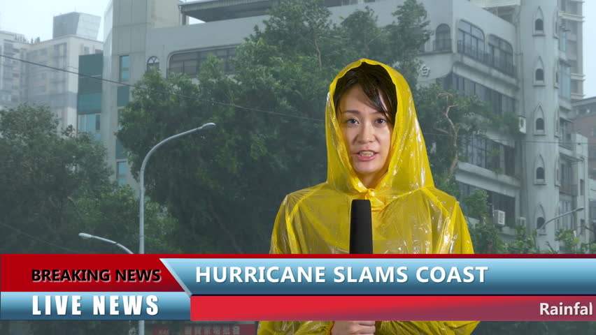 Asian Weather reporter reporting on hurricane, live news with lower thirds