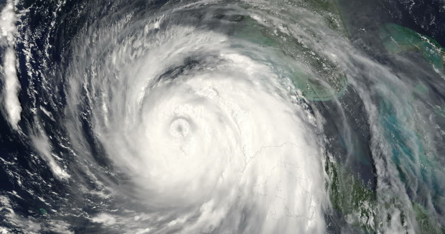 Hurricane Katrina Spinning From Outer Space Close Up Animation, 4K some elements furnished by NASA images