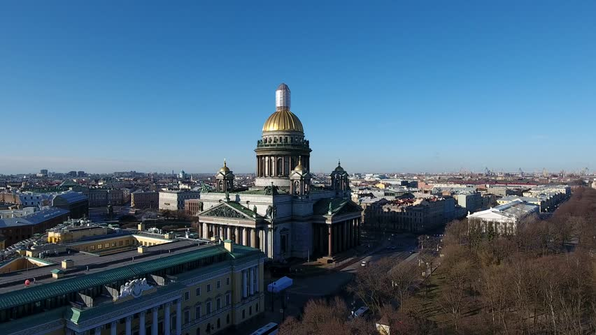 Aerial drone video with view of Saint Isaac's Cathedral or Isaakievskiy Sobor in Saint Petersburg, views of Neva River and surrounding streets, Russia | Shutterstock HD Video #27854071