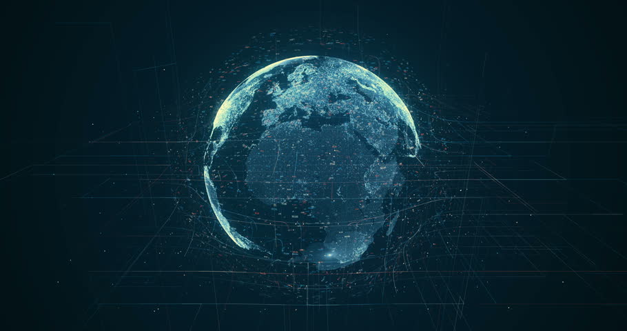 Digital data globe - abstract 3D rendering of a scientific technology data network surrounding planet earth conveying connectivity, complexity and data flood of modern digital age | Shutterstock HD Video #27873325