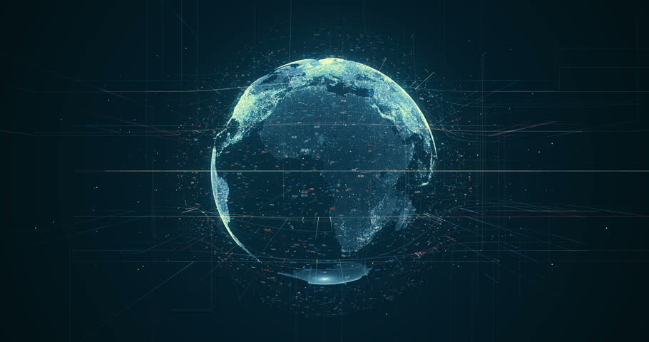 Digital data globe - abstract 3D rendering of a scientific technology data network surrounding planet earth conveying connectivity, complexity and data flood of modern digital age | Shutterstock HD Video #27873334