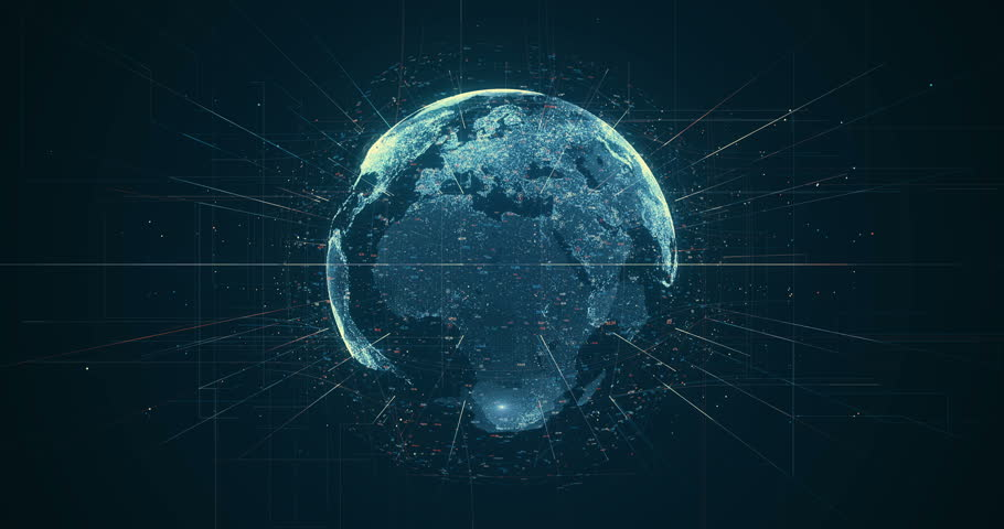 Digital data globe - abstract 3D rendering of a scientific technology data network surrounding planet earth conveying connectivity, complexity and data flood of modern digital age | Shutterstock HD Video #27873337