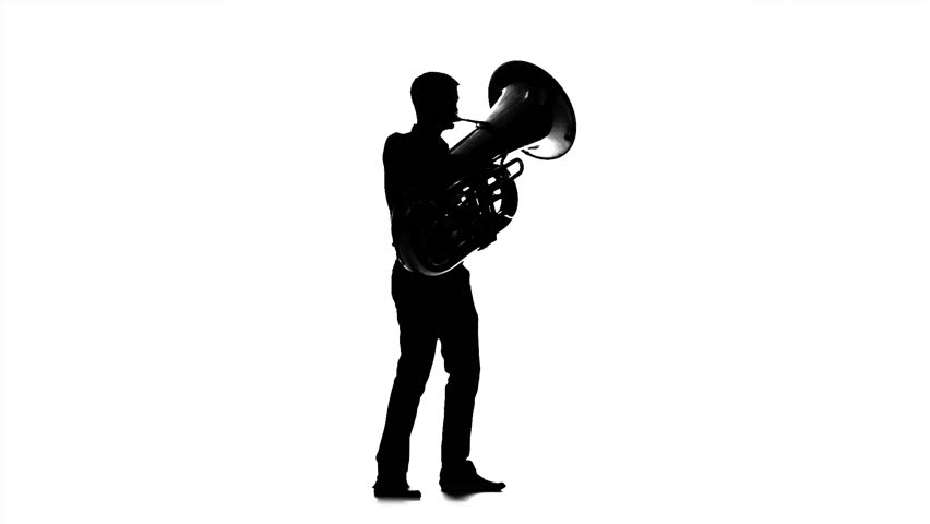 Musician man playing on tuba. Black silhouette on white background