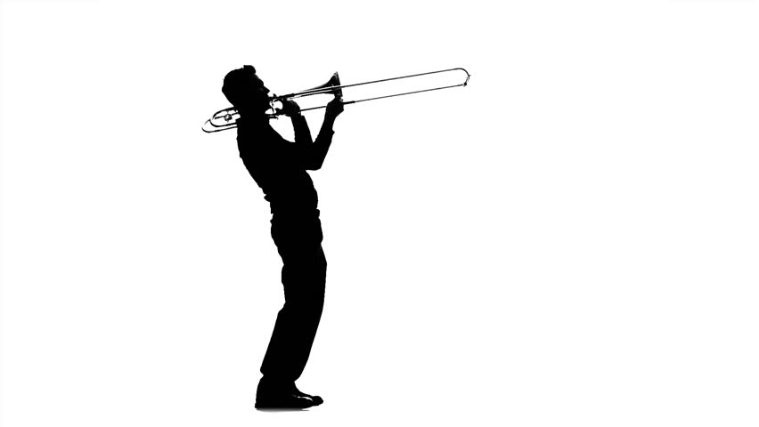Musician man playing on trombone. Black silhouette on white background