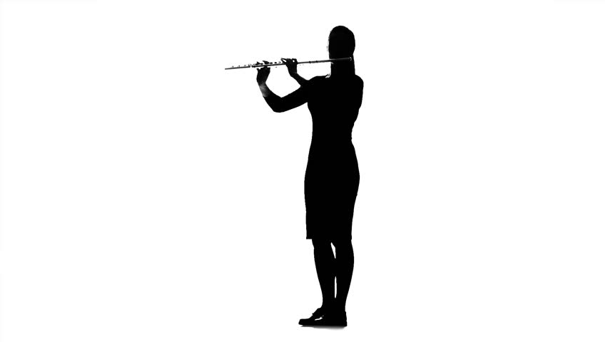 Musician girl playing on flute. Black silhouette on white background