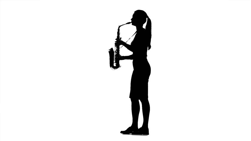 Musician woman playing on saxophone. Black silhouette on white background