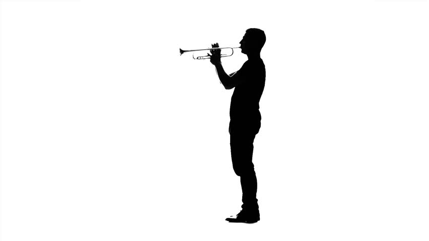 Professional musician playing on trumpet. Black silhouette on white background