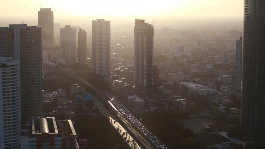 BANGKOK, THAILAND - June 16, 2017:  Traffic and transportation on Sathorn Bridge and Silom area located in business areas in Bangkok, Thailand.  | Shutterstock HD Video #27886783