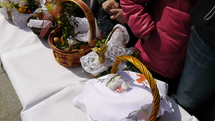 easter baskets ready for food blessing eastern european tradition steadicam slow motion footage