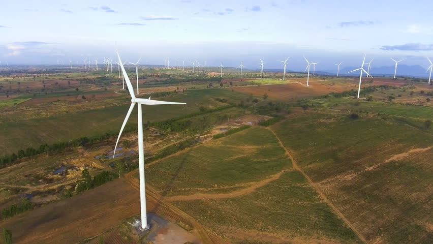 Wind turbine farm from aerial view by drone. Renewable energy, sustainable development, environment friendly concept. #27900904