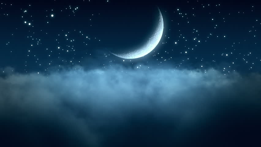 Flying Through Thin Clouds at Night with Beautiful Crescent Moon and Twinkling Stars in The Background Seamless Looping Motion Background Animated Video Backdrop