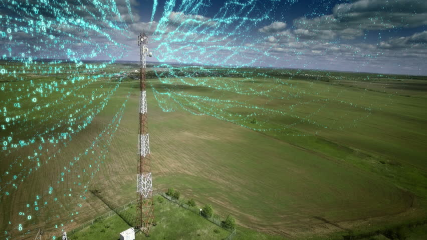 AERIAL Telecommunication antenna with signal digits information flow concept communication Cellular Cellphone relay tower. Medium shot. Royalty-Free Stock Footage #27926344