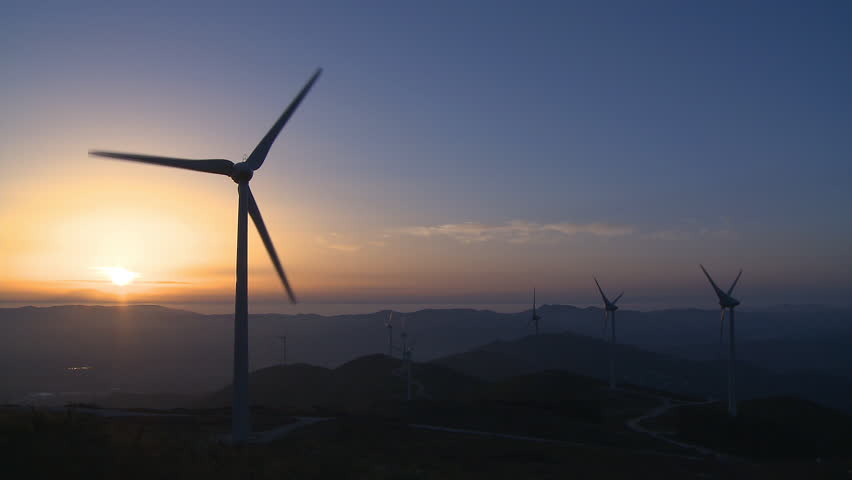 Wind power turbine generator in the mount at sunset #279292