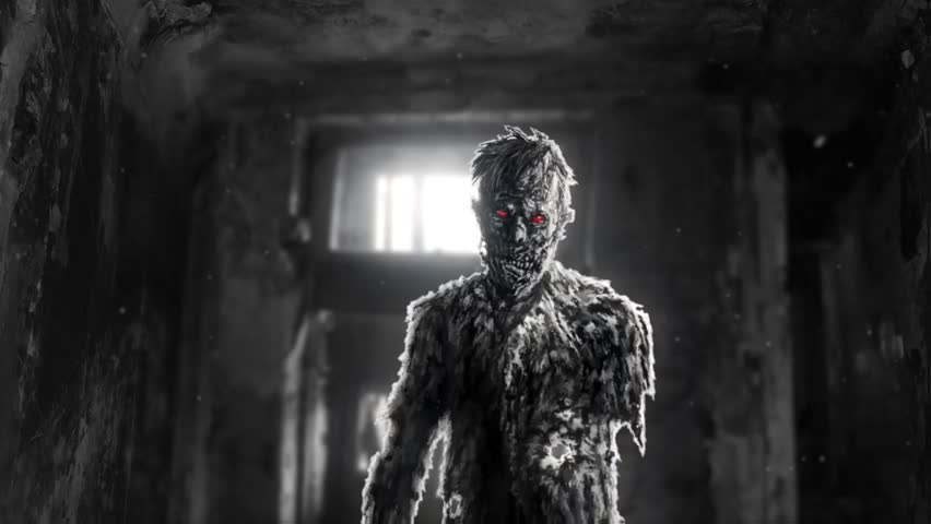 Dark evil zombie with red eyes entered room. Abandoned house with monster inside in black and white background colors. 2D animation for creepy Halloween in HD. Horror character concept. Scary places.