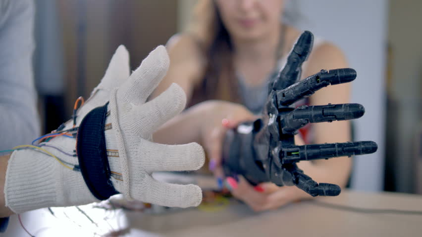 Bionic arm is making some movements. Artificial arm mechanism is being tested. 4K.