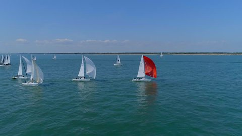Sailing Boats Competing in a Summer Race on the Solent in the UK