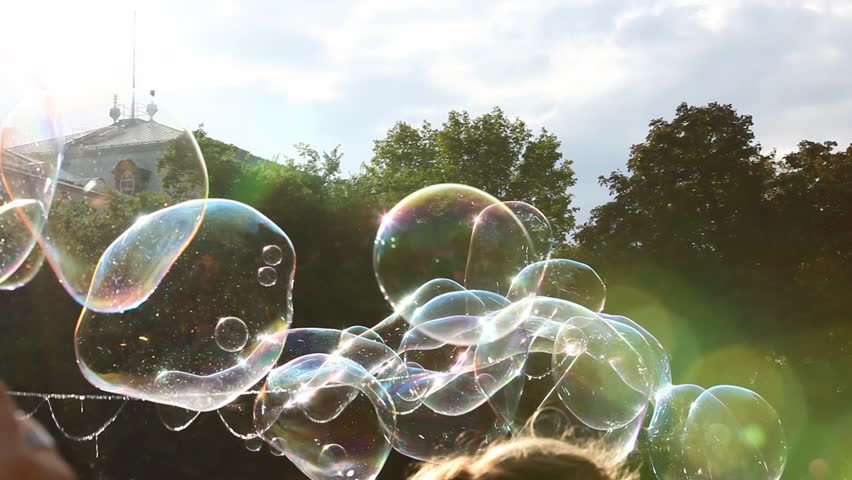 Large soap bubbles floating