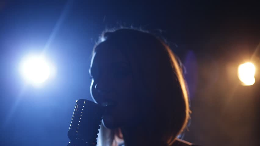 Silhouette of young woman, jazz singer with microphone. Shallow depth of field #27959251