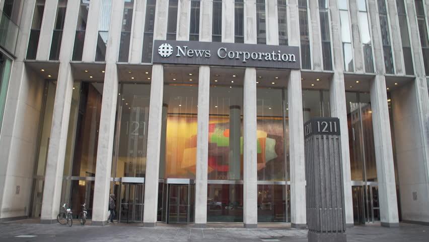 NEW YORK CITY - APRIL 2017: News Corp. Building, an International skyscraper in Manhattan global headquarters businessman Rupert Murdoch's media companies, 21st Century Fox News Corp. (NASDAQ: NWS)