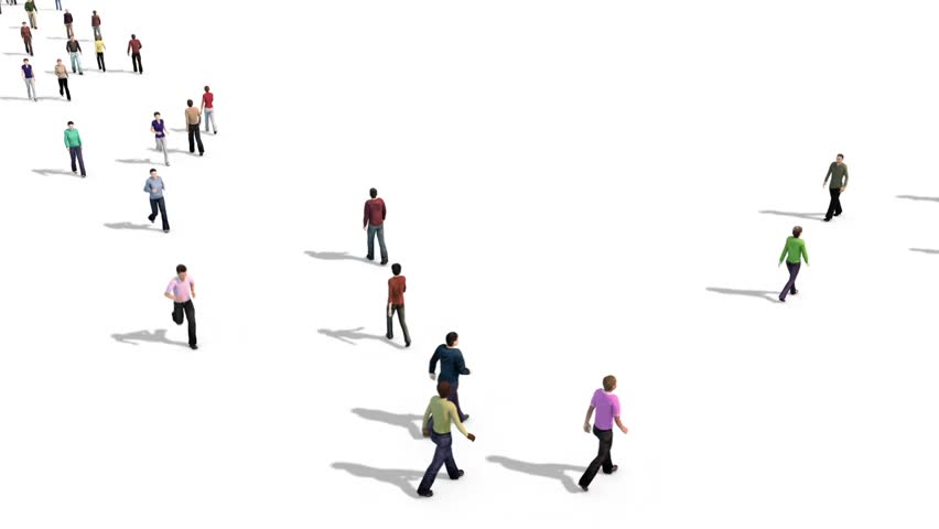 Crowd People Walking Jogging Top Alpha Matte 3D Rendering Animation