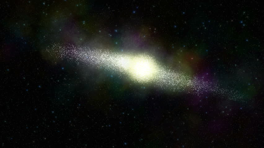 Galaxy Fly Through. Camera approaches a galaxy and then flies through the cluster of stars.