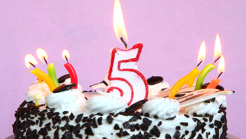 Superb Happy 5 Birthday With Cake Stock Footage Video 100 Royalty Free Funny Birthday Cards Online Sheoxdamsfinfo