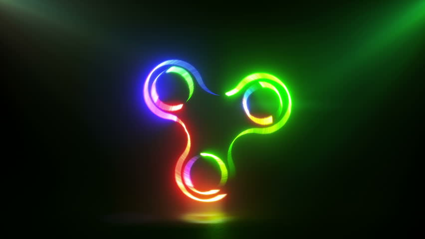 Glowing rotating red green and blue spinner