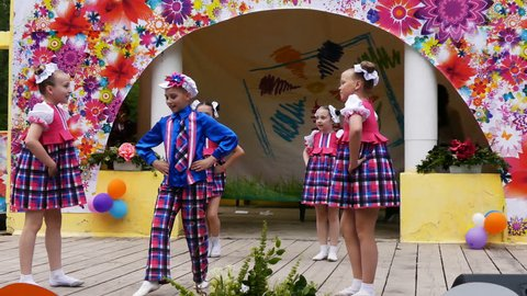 Russia, Samara, 06;17;2017, the Festival of colors, dancing children in costumes.