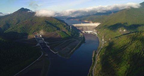 Sayano Shushenskaya hydroelectric power station. The dam on the Yenisei River. Khakassia Sayanogorsk. Aerial view.