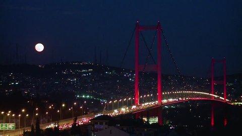 istanbul bosporus bridge night