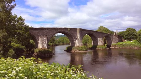 Time-lapse footage of the Old Stirling Bridge on a bright sunny day.