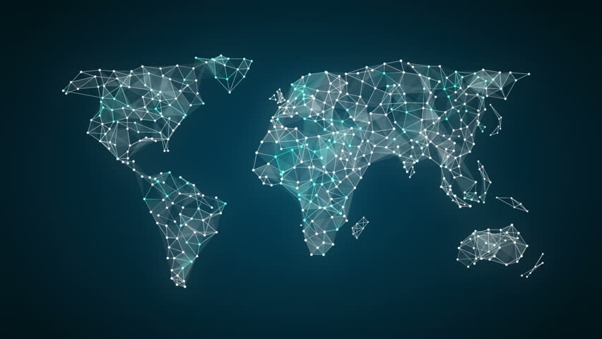 3D Animation. Dots connecting line, dots makes global world map, internet of things.2. #28080601