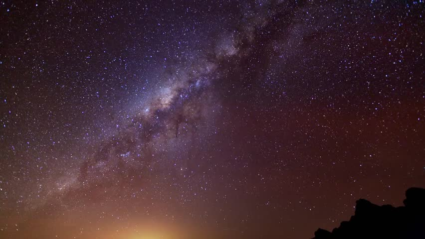 Night time lapse of Sagittarius A, a supermassive black hole that is belived to be center of our galaxy. Shoot from Chimborazo volcano the farthest point on the Earth's surface from the Earth's center