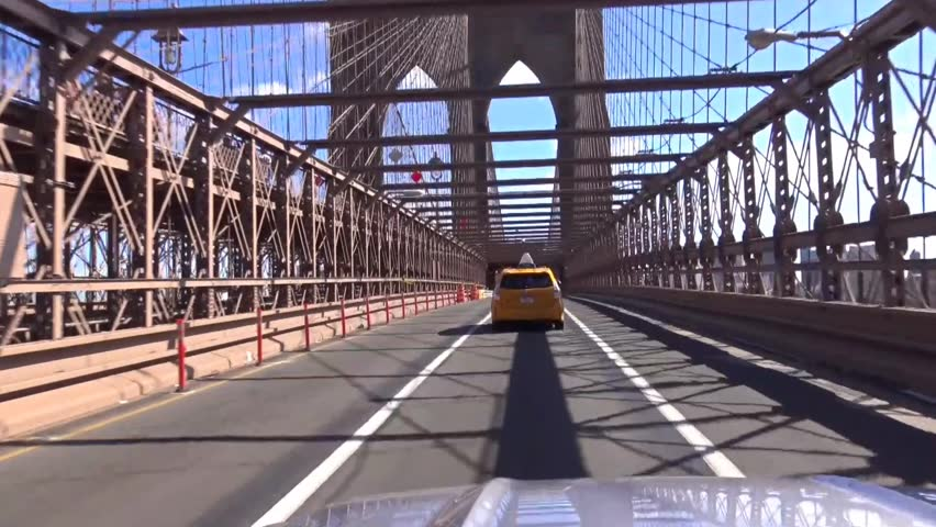 October 10 2015: Driving on Brooklyn Bridge from Manhattan to Brooklyn on a sunny day October 10 2015   Shutterstock HD Video #28101613