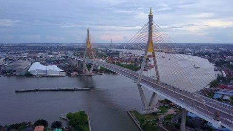 Bangkok, Thailand - 5 MAY 2017 : King Rama bridge and river along Chao Phraya river in ,Thailand.