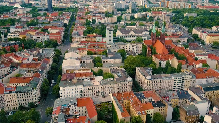 Aerial drone flight over Kreuzberg, Berlin.