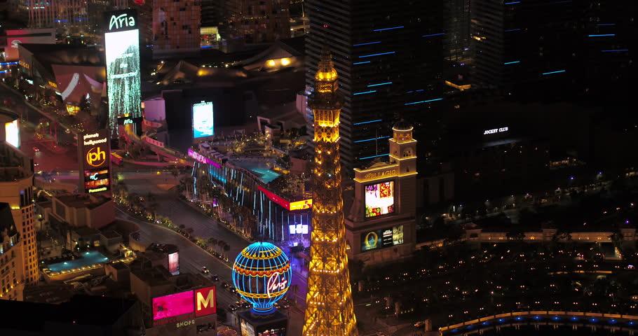 Las Vegas Aerial v46 Birdseye view flying around main strip area at night 4/17