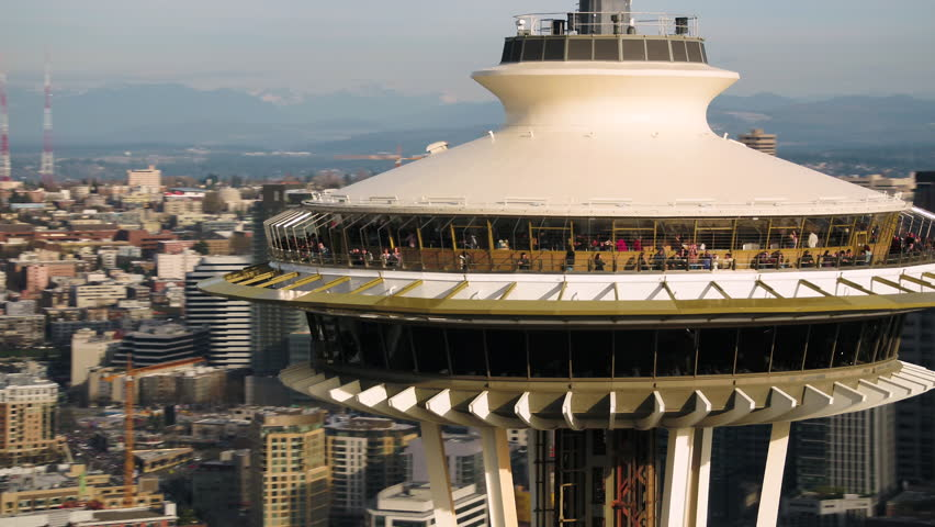 Seattle Aerial v103 Closeup shot flying low around Space Needle with cityscape views 4/17