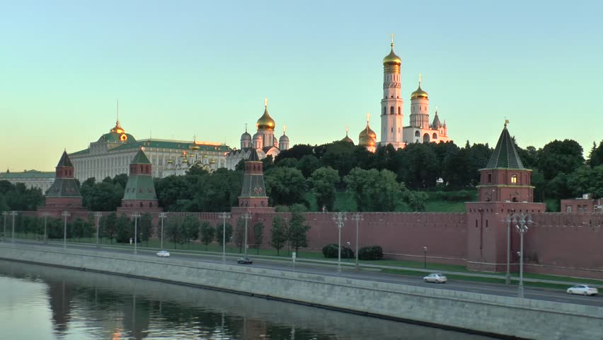 View of the Moscow Kremlin by a sunny morning, Moscow river and Moscow transport | Shutterstock HD Video #28143181