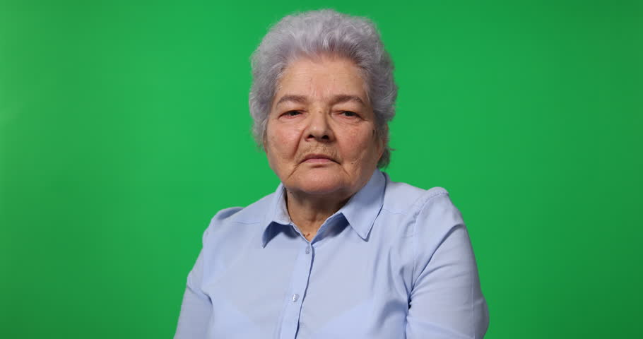 Elderly Woman Standing Look Out Watch Overview Chroma Key Greenscreen Background   Shutterstock HD Video #28144861