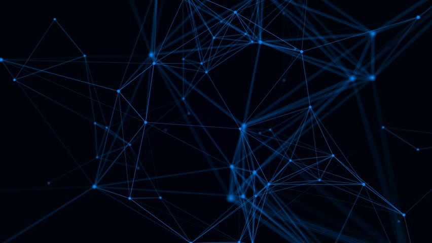 Plexus fantasy abstract technology. Abstract geometric background with moving lines, dots and triangles. Science, medicine and technology. Loop animations #28159918