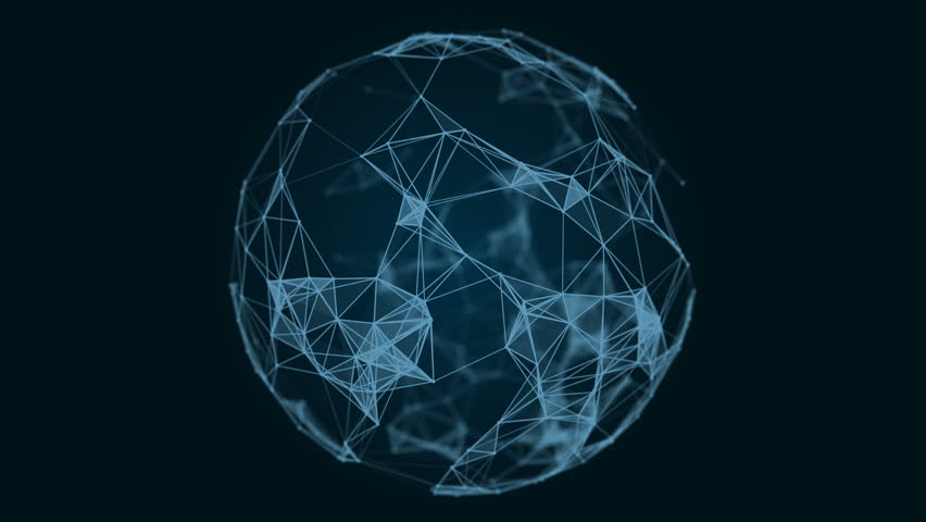 Sphere, globe and space in the form of a plexus. Abstract geometric background with moving lines, dots and triangles. Plexus fantasy abstract technology. Loop animations