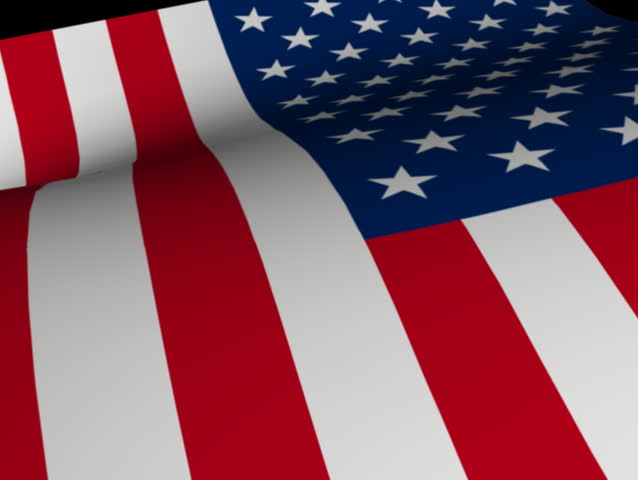 Computer-generated animated loop depicting a waving American flag (concept: freedom)