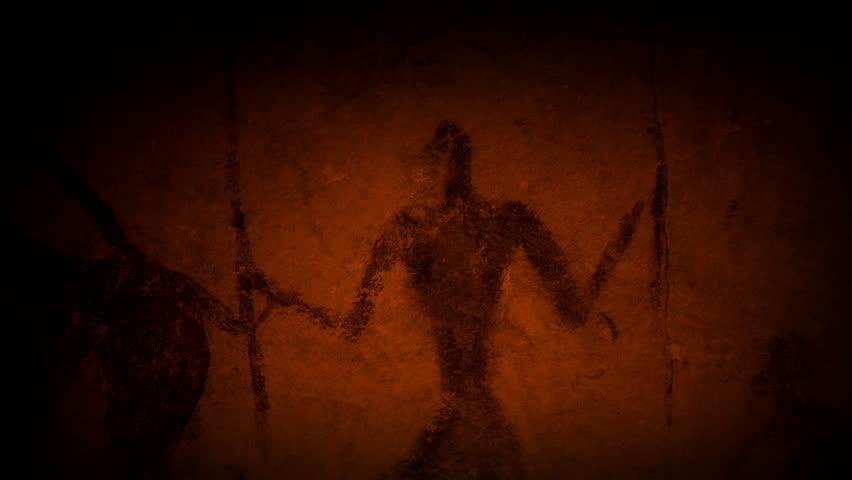 Cave Art Human Figures In Fire Light